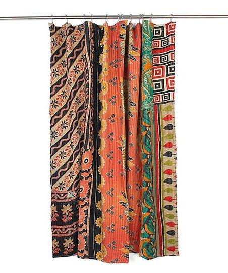 Love This Product Orange Black Floral Geometric Kantha Shower Curtain