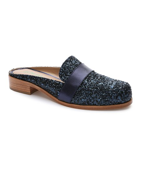 d6898f117abb love this product Navy Glitter Addison Leather Mule - Women