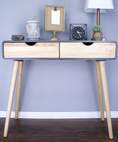 Pleasing Heather Ann Graphite Euro Two Drawer Console Table Zulily Machost Co Dining Chair Design Ideas Machostcouk