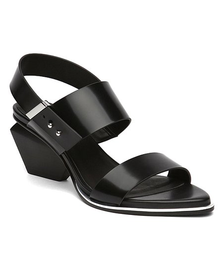 fb403643155 Jady Rose Black Block Heel Double-Strap Leather Sandal - Women