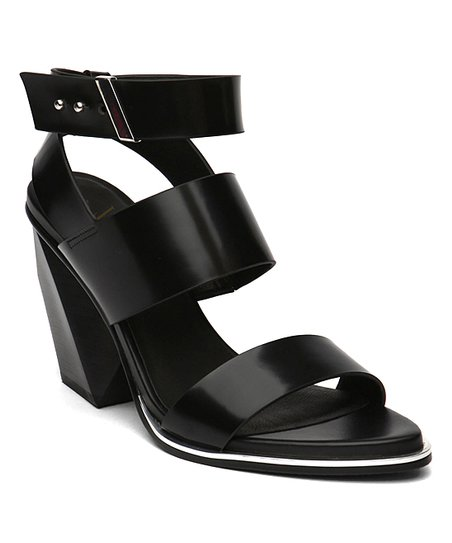 1f2cdf4c0a0 love this product Black Block-Heel Triple-Strap Leather Sandal - Women