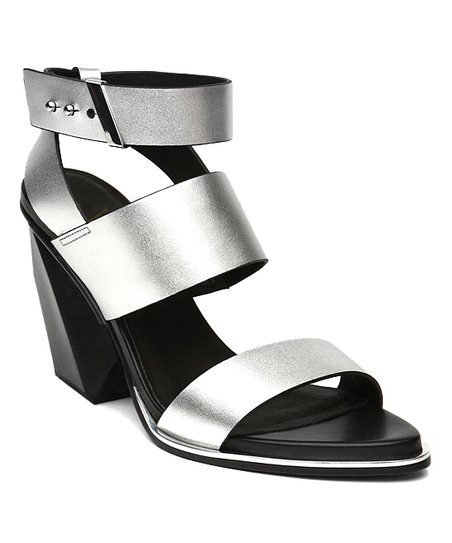 ca1f9ed691e love this product Silver Block Heel Triple-Strap Leather Sandal - Women