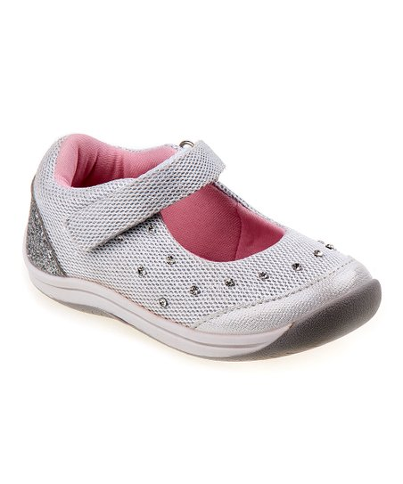 82a4ecd729e love this product Silver Embellished Mary Jane - Girls