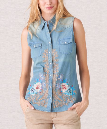 abd0fd83885 PAPARAZZI Blue Floral Embroidered Chambray Sleeveless Button-Up