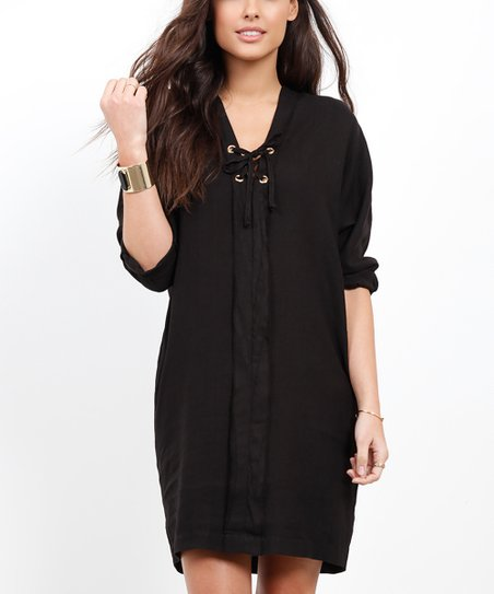 fd197ea6a3 Three Dots Black Linen Lace-Up Shift Dress - Women