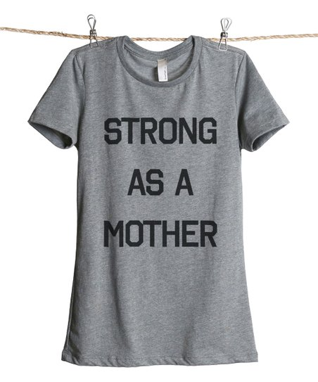 deb1f50f Thread Tank Heather Gray Strong As A Mother Tee - Plus Too | Zulily