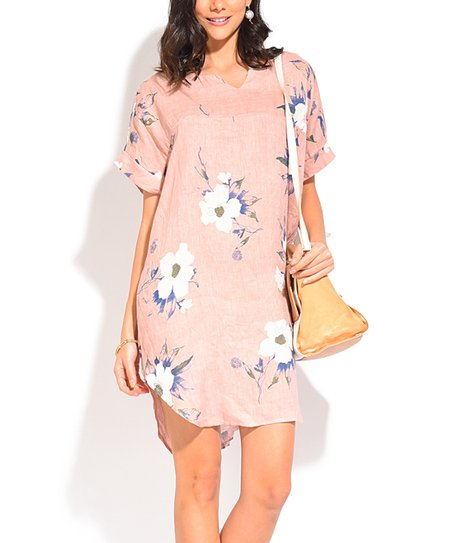 b2651f9593 La Fille du Couturier Pink Floral Linen Notch Neck Dress
