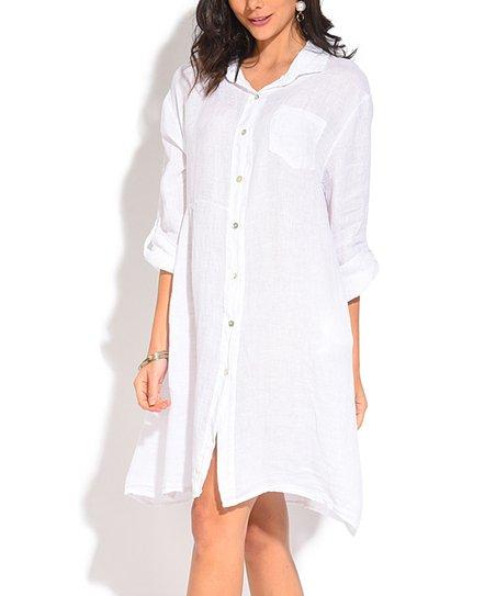 La Fille du Couturier White Linen Shirt Dress - Plus