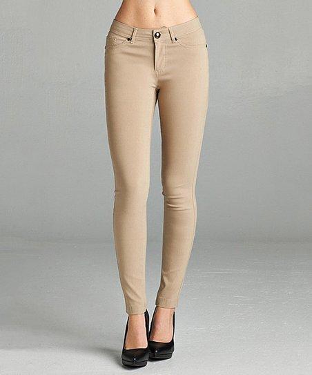 4465975a7494 love this product Khaki Five-Pocket Skinny Pants - Women