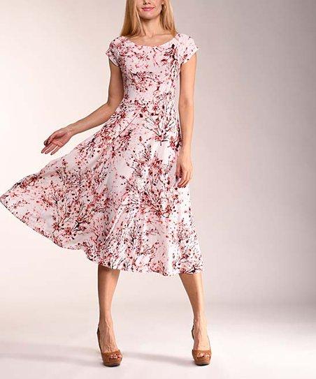 8c390d5fd518 Lbisse Coral Cherry Blossom Cap-Sleeve Midi Dress - Women & Plus ...