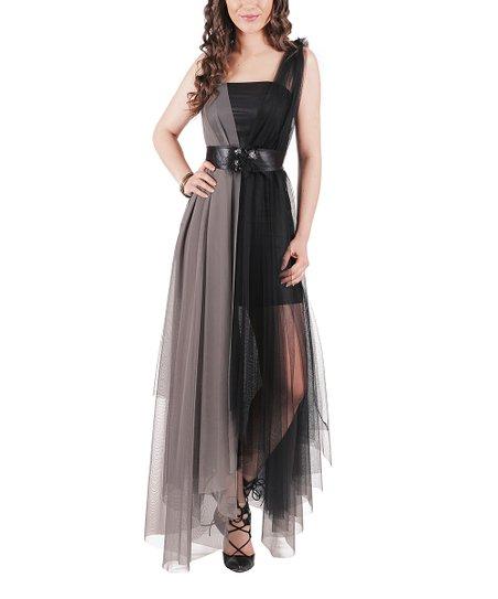 8b48b94d37a9 Quincey Gray   Black Sheer-Overlay Maxi Dress - Women