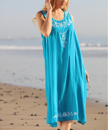 895688cfdef2 love this product Turquoise Blue   White Embroidery-Accent Midi Dress -  Plus Too