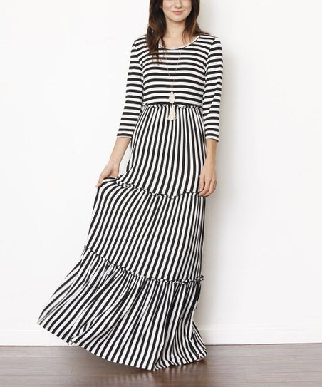 Black \u0026 White Stripe Maxi Dress