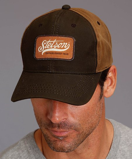 Stetson Dark Brown Oilskin Baseball Cap - Mens Regular  f393258d897