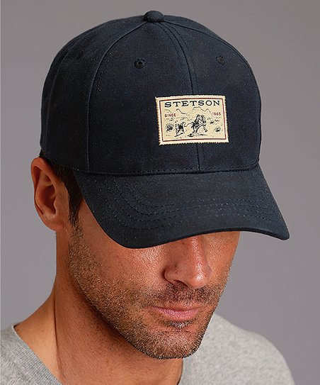 Stetson Dark Navy Oilskin Baseball Cap - Mens Regular  72bbf4803dc