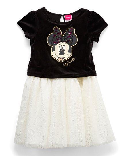 His International Minnie Mouse Black White Velvet A Line Dress