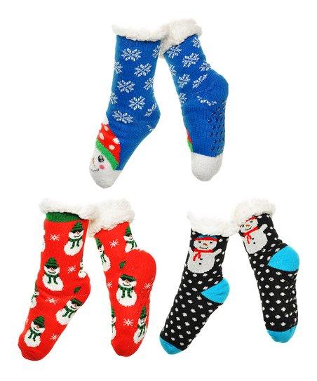 b2628632f1c love this product Black   White Snowman Fleece-Lined 3-Pair Slipper Socks  Set - Women