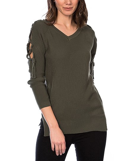 Dewberry Khaki Lace-Up Sleeve V-Neck Sweater  c30527d4e