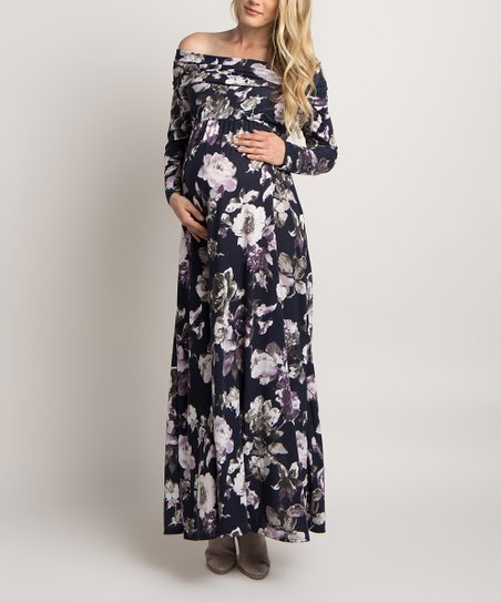 c16633629b106 love this product Navy Blue Floral Off-Shoulder Maternity Maxi Dress