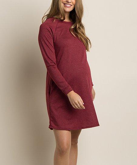 59044185db PinkBlush Maternity Burgundy Maternity Shift Dress