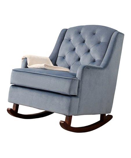 Astonishing Light Blue Tufted Theresa Velvet Rocking Chair Inzonedesignstudio Interior Chair Design Inzonedesignstudiocom