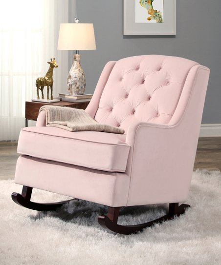 Surprising Blush Pink Theresa Velvet Rocking Chair Inzonedesignstudio Interior Chair Design Inzonedesignstudiocom