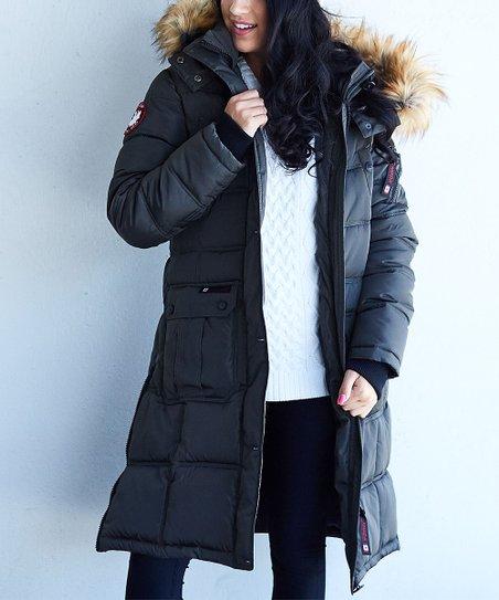 CANADA WEATHER GEAR Women's Long Outerwear Jacket with Faux Fur