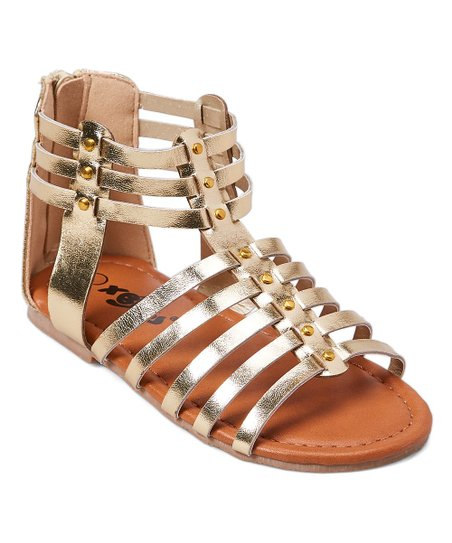 e3453a6aaf66d7 Xeyes Gold Strappy Studded Gladiator Sandal - Girls