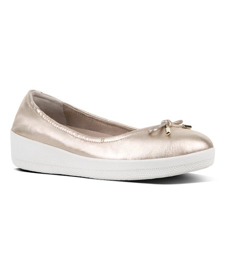 dcaa34116f5 FitFlop Pale Gold Superbendy Leather Ballerina Flat - Women