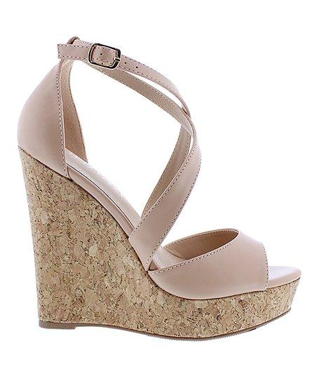 c0d3a206b840 Liliana Footwear Nude Derby Cork Wedge Sandal - Women