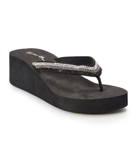 d28a9ae44c60f Star Bay Black Embellished Wedge Flip-Flop - Women
