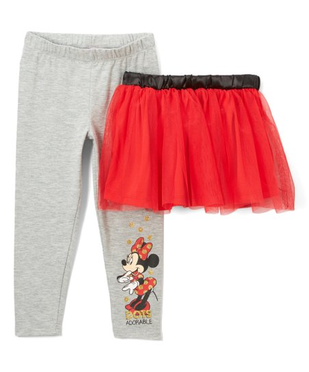 86fc7cedfbd69 love this product Red & Gray Minnie Mouse Tutu & Leggings - Toddler & Girls