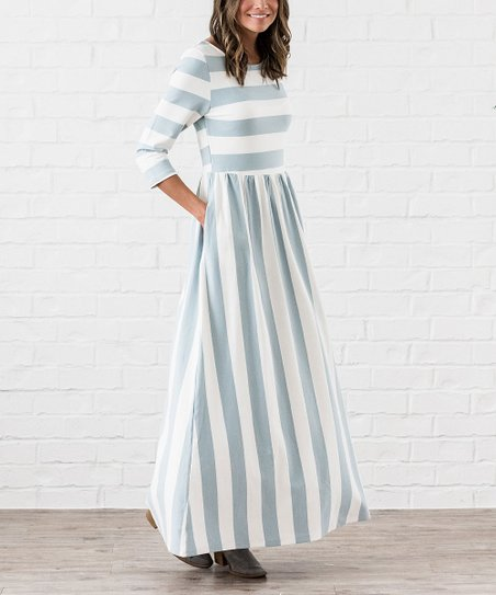 6669b824105 love this product Blue   White Stripe Three-Quarter Sleeve Maxi Dress -  Women