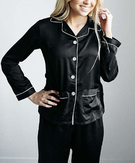 9b3504ebb943b0 love this product Black Clara Satin Pajama Set - Women