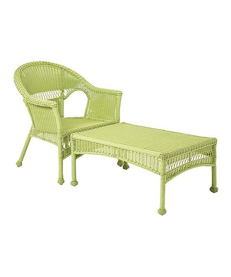 Remarkable Plow Hearth Green Wicker Outdoor Lounge Chair Zulily Ncnpc Chair Design For Home Ncnpcorg