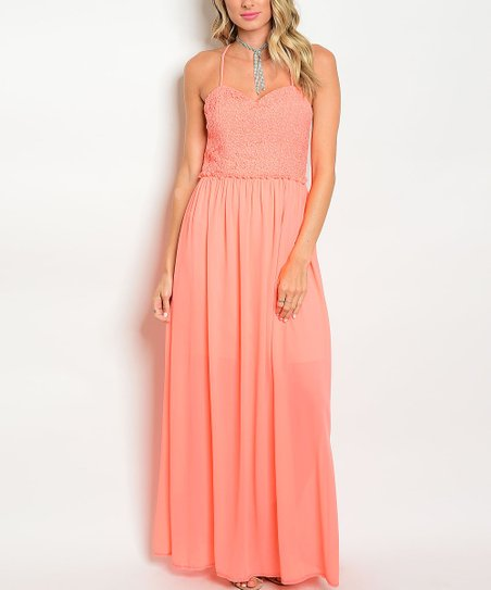 fec255a7236f love this product Coral Floral-Bodice Open-Back Maxi Dress