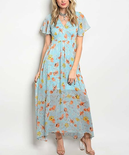 b7ab6579e06 love this product Light Blue Floral Chiffon Maxi Dress - Women