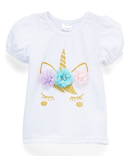 d1dd17137 love this product White & Gold Flower-Accent Unicorn Tee - Toddler & Girls