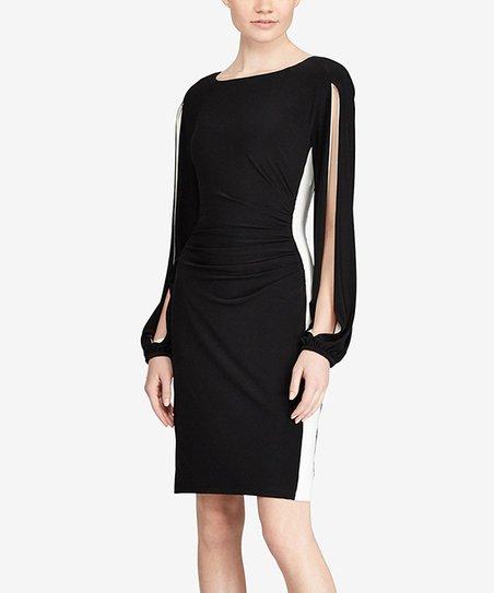 Lauren Ralph Lauren Black White Two Tone Matte Jersey Sheath Dress