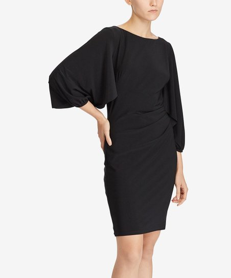 Black Matte Jersey Ruffle Sleeve Sheath Dress Women