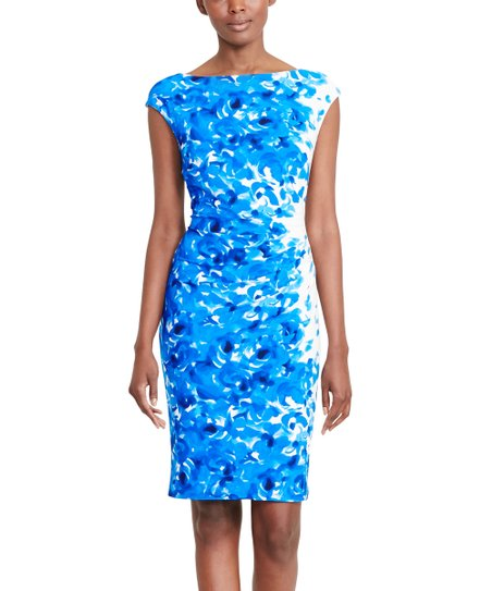 288127e2 love this product Cream & Blue Floral Cap-Sleeve Sheath Dress - Women