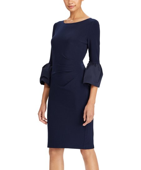 ec6ae119ffb love this product Navy Matte Jersey Bell-Sleeve Sheath Dress - Petite