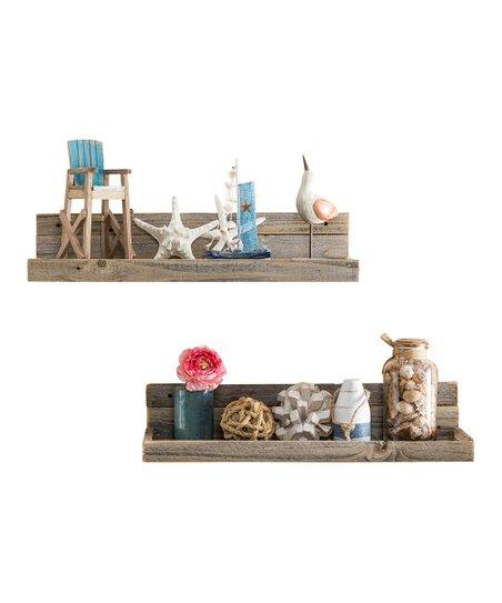 Delhutson Designs Pine Wood Floating Shelves Set Of Two Zulily