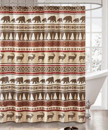 Brown Moose Bear Shower Curtain