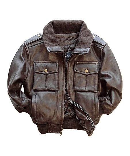 d6d6315cdc3f Tanners Avenue Brown Leather Bomber Jacket - Toddler