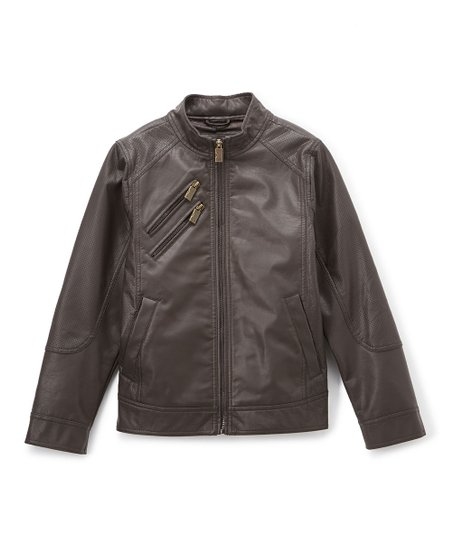 3d8318625 Urban Republic Dark Brown Zip-Pocket Faux Leather Jacket - Infant ...