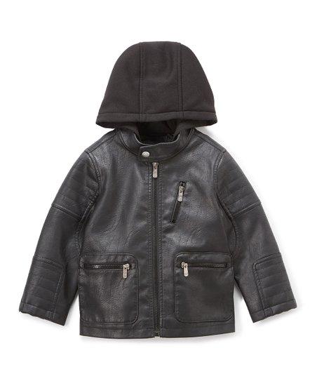 447bb76fb0d4 Urban Republic Black Pocket Hooded Faux Leather Jacket - Infant ...