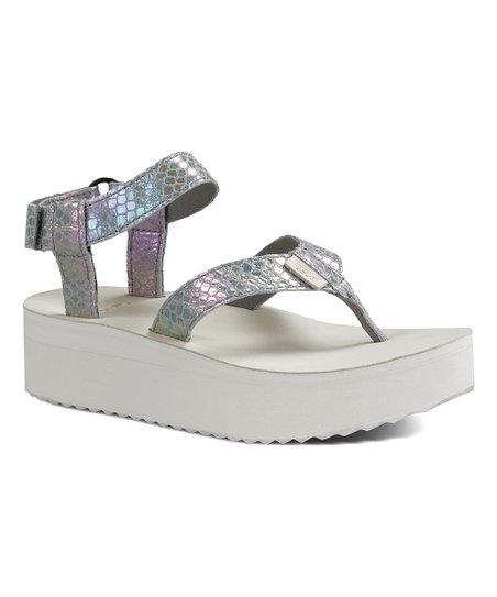 94bf652f88 Teva Gray Iridescent Flatform Leather Sandal - Women | Zulily