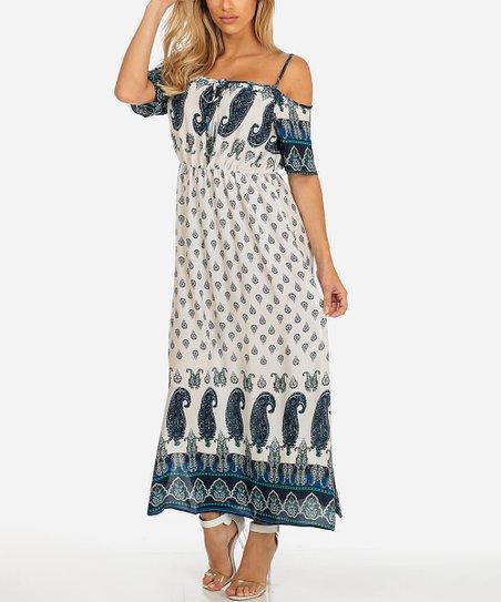 dabe1746d1 Paradis Miss White & Blue Paisley Cold-Shoulder Maxi Dress | Zulily