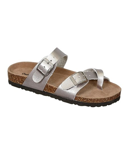 b1880df48971 love this product Silver Bork Cross-Toe Sandal - Girls